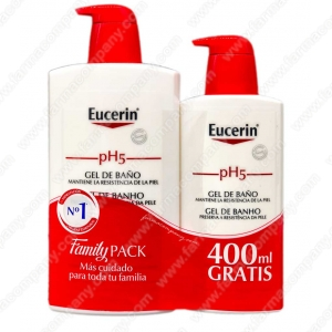 Family Pack Ph5 Eucerin Gel De Baño 1000 Ml + Gel De Baño 400ml GRATIS